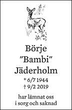 Börje Jäderholm Death notice