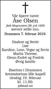 Åse Olsen Dødsannonse