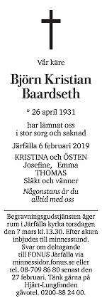 Björn Baardseth Death notice
