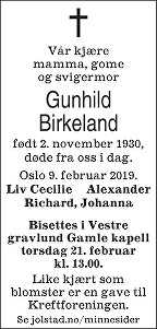 Gunhild Birkeland Dødsannonse