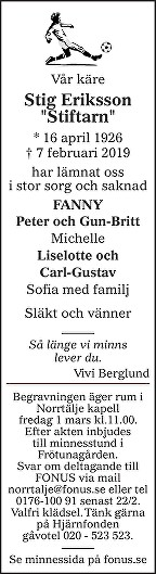 Stig Eriksson Death notice
