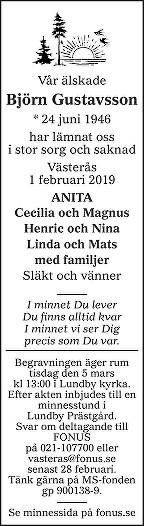 Björn  Gustavsson Death notice