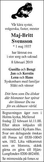 Maj-Britt Svensson Death notice