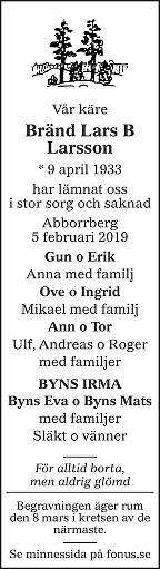 Bränd Lars B. Larsson Death notice