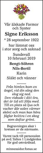 Signe Eriksson Death notice