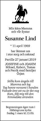 Susanne Lind Death notice