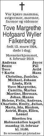 Tove Margrethe Falkenberg Dødsannonse