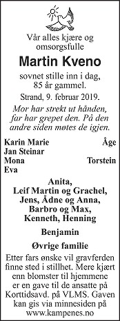 Martin Kveno Dødsannonse