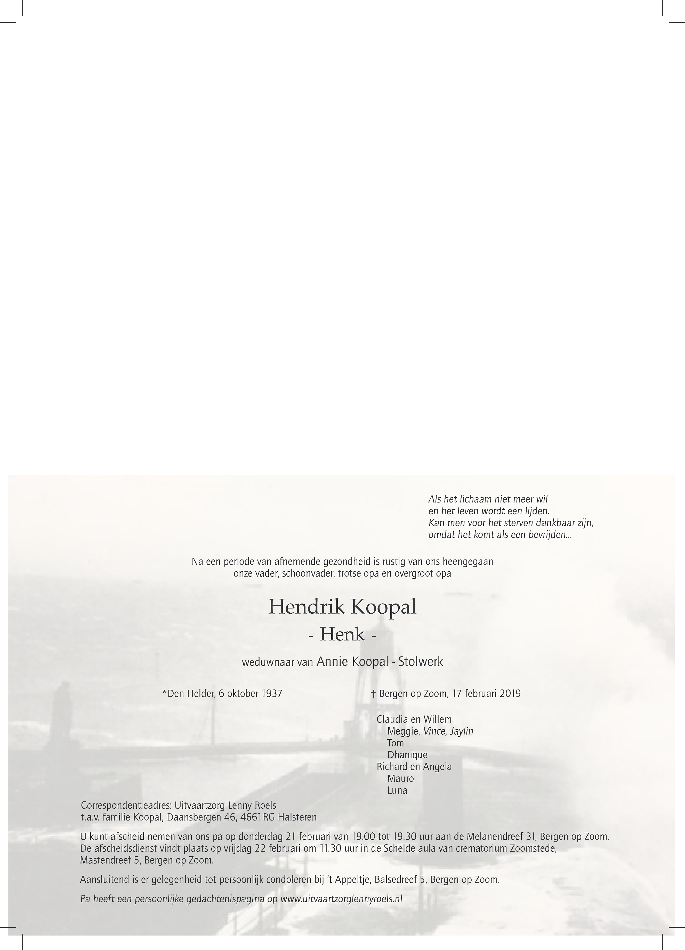 Hendrik Koopal Death notice