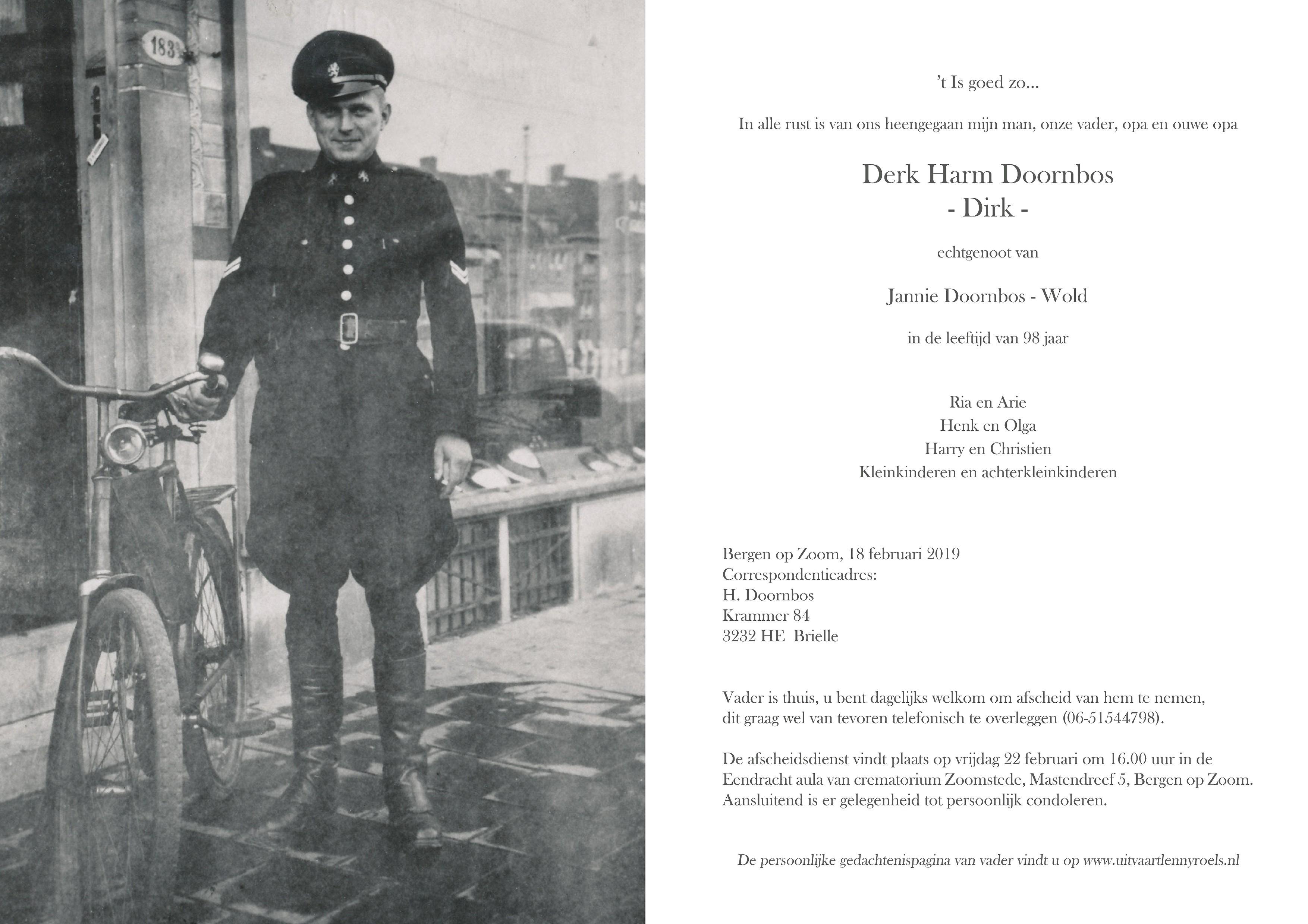 Derk Harm Doornbos Death notice