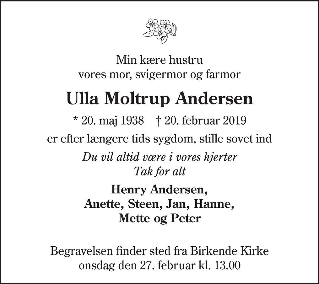 Ulla  Andersen Death notice