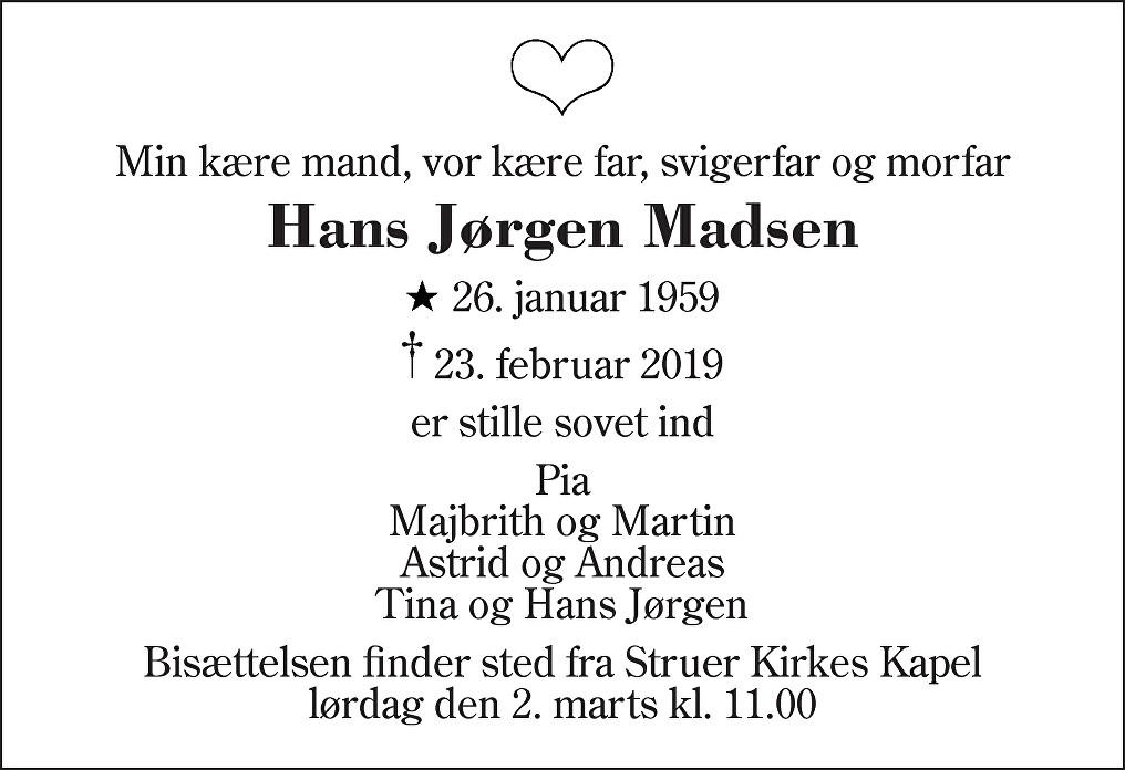 Hans Jørgen  Madsen Death notice