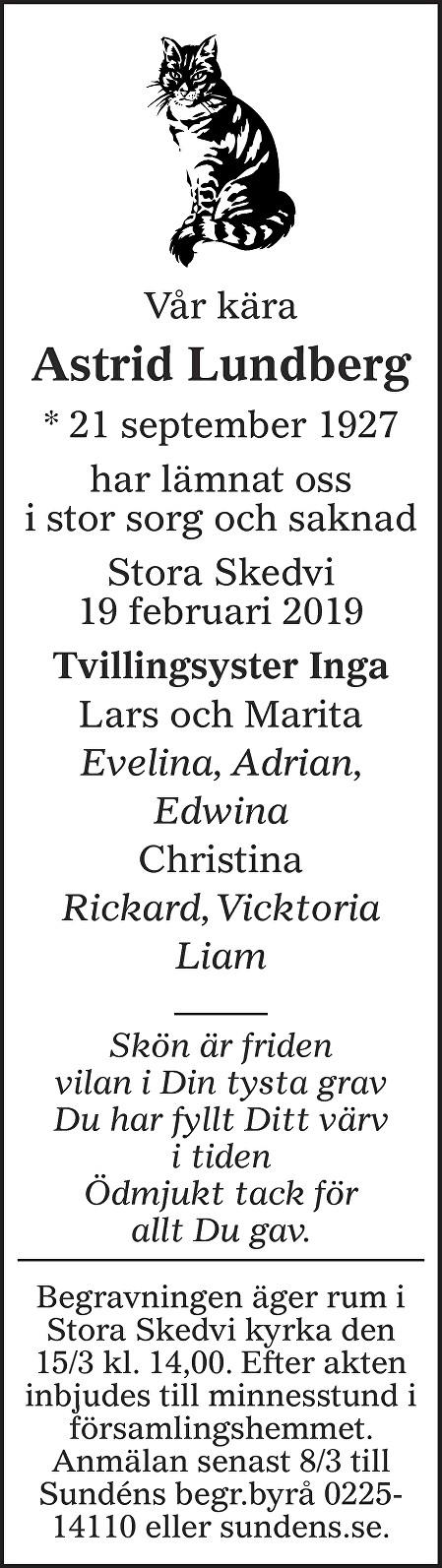 Astrid Lundberg Death notice