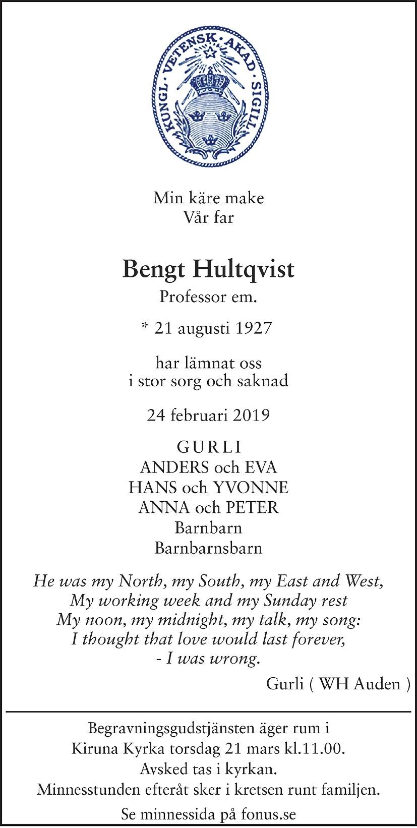 Bengt Hultqvist Death notice