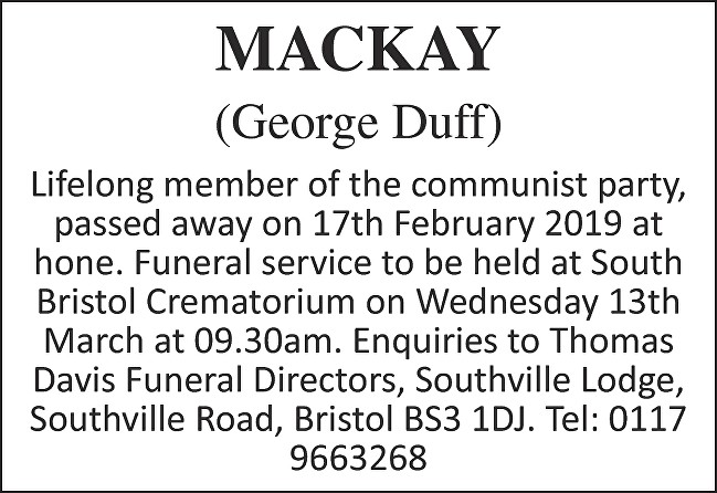 George Duff MacKay Death notice
