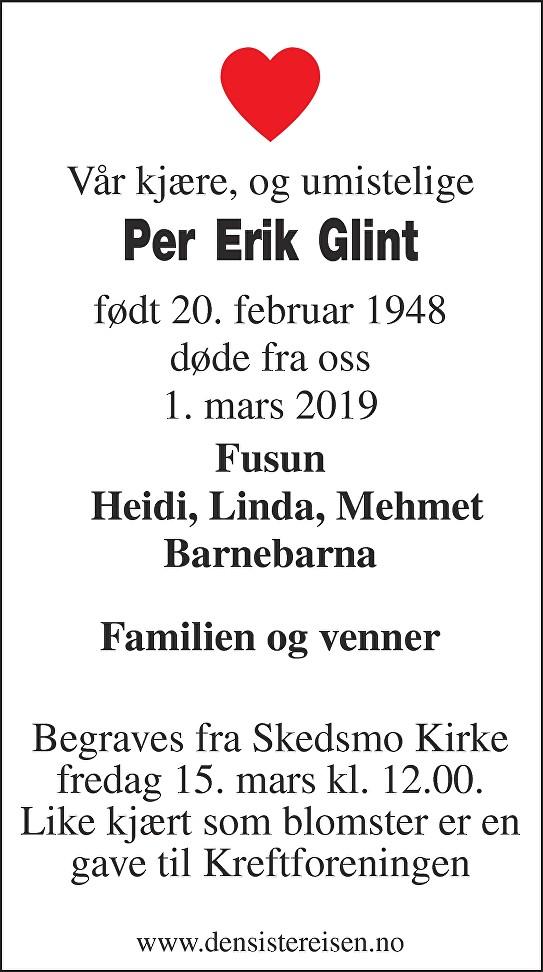 Per Erik Glint Dødsannonse