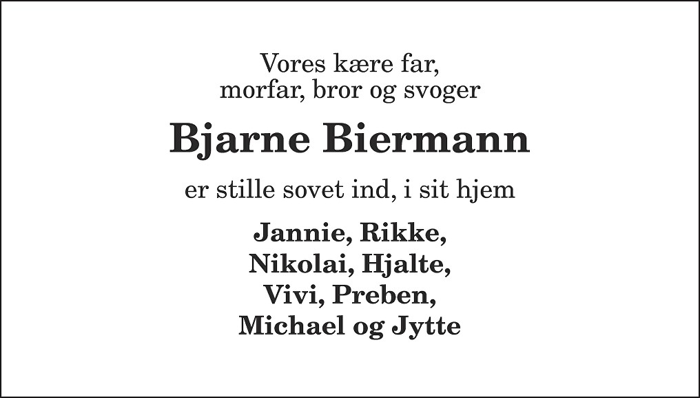 Bjarne  Biermann Death notice
