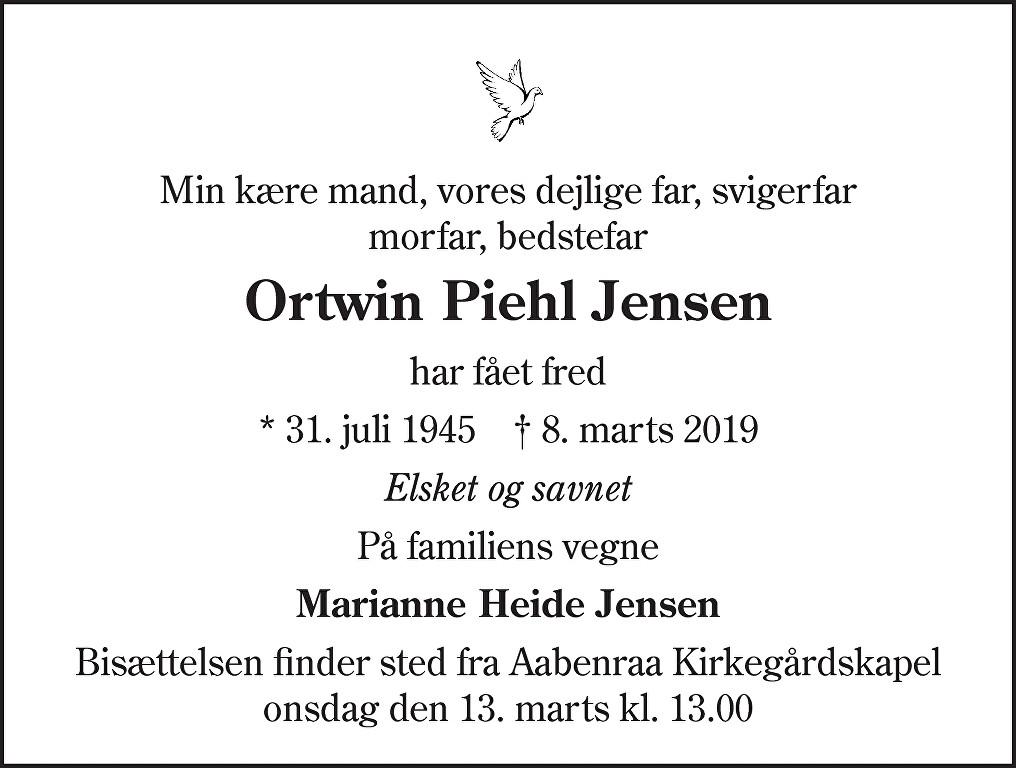 Ortwin Piehl  Jensen Death notice