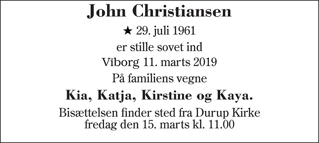 John  Christiansen Death notice