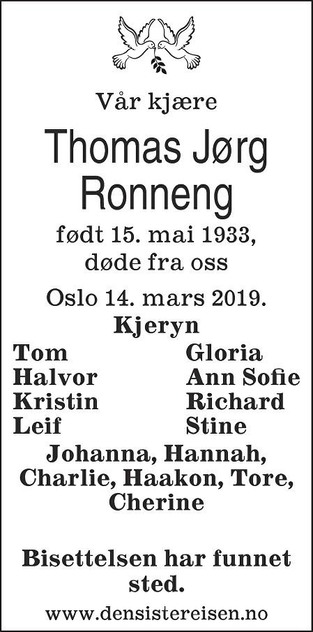 Thomas Jørg Ronneng Dødsannonse