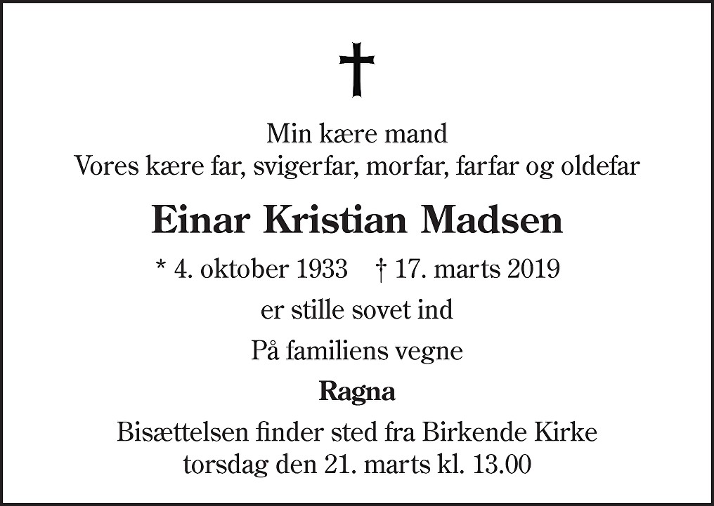 Einar Kristian  Madsen Death notice