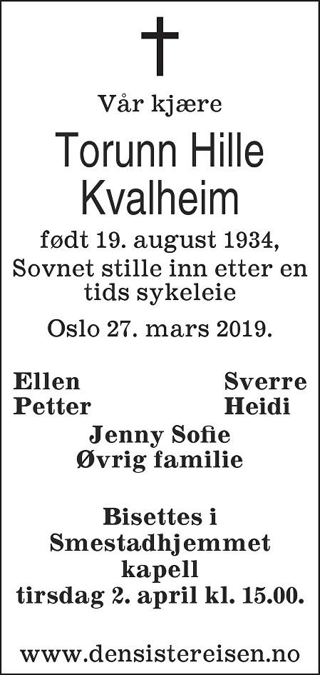 Torunn Hille Kvalheim Dødsannonse