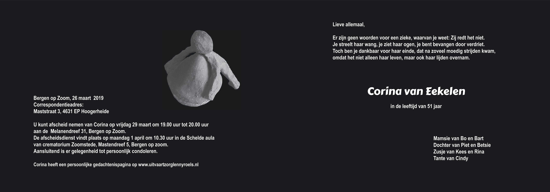 Corina van Eekelen Death notice