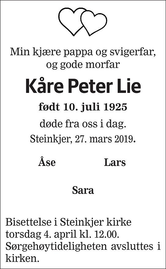 Kåre Peter  Lie Dødsannonse
