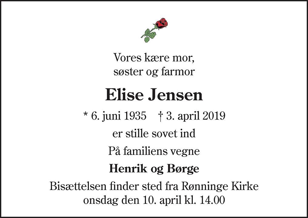 Elise Theodora  Jensen Death notice