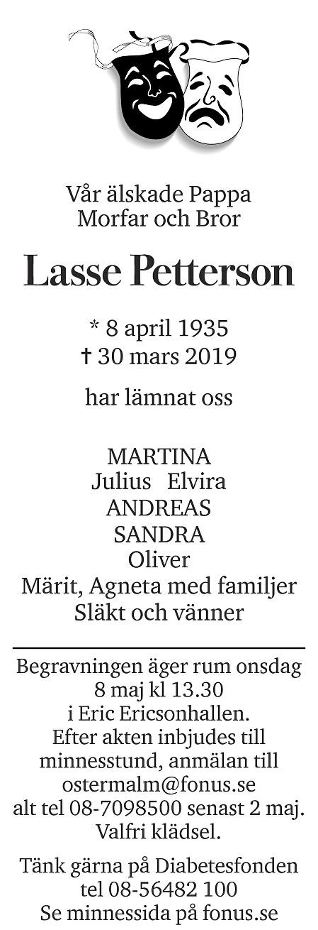 Lasse Petterson Death notice