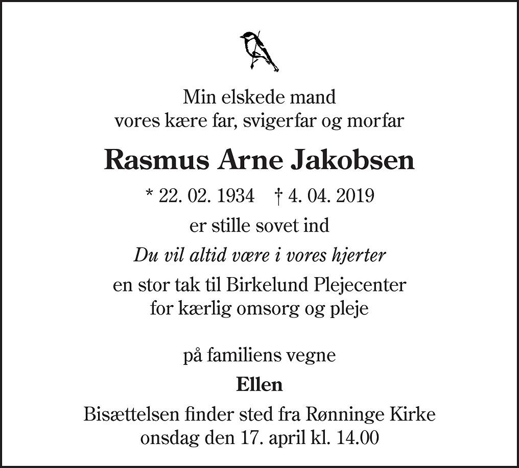 Rasmus Arne  Jakobsen Death notice