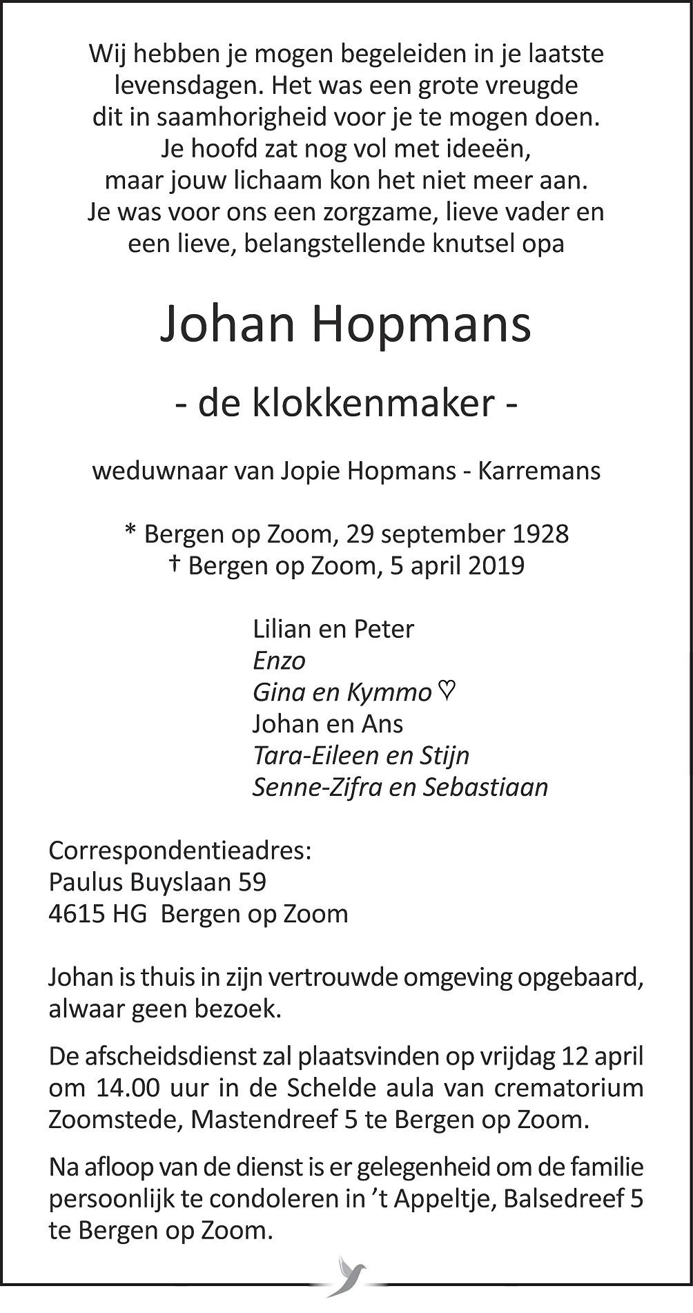 Johan Hopmans Death notice