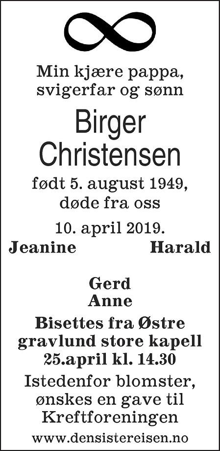 Birger Christensen Dødsannonse