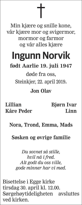Ingunn Norvik Dødsannonse