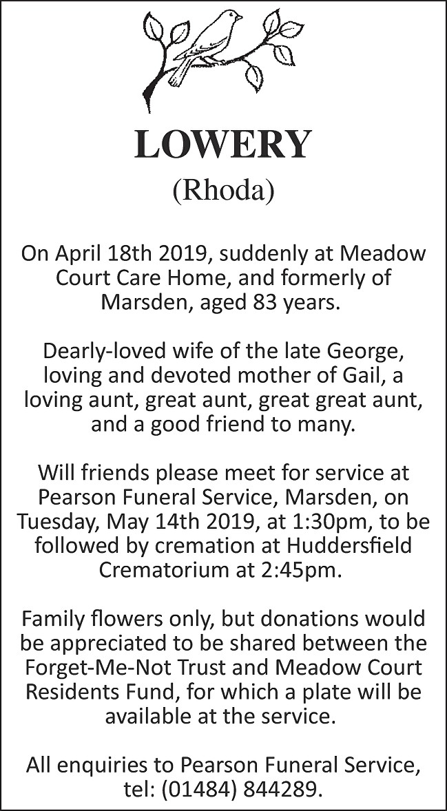 Rhoda Lowery Death notice
