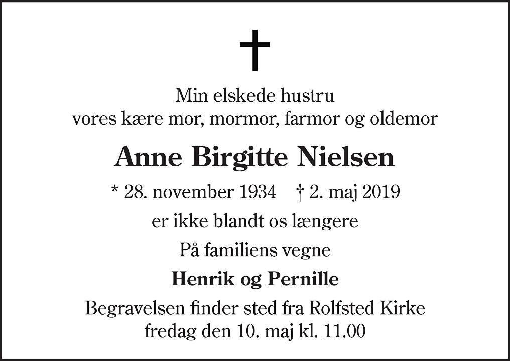 Anne Birgitte  Nielsen Death notice