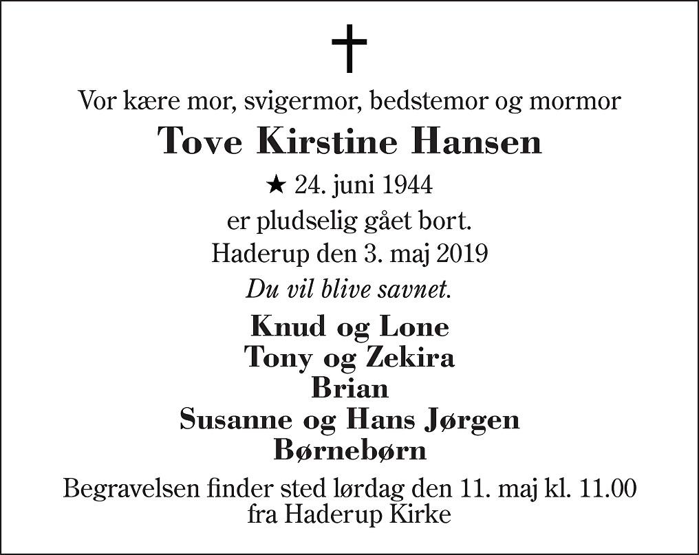 Tove Kirstine  Hansen Death notice