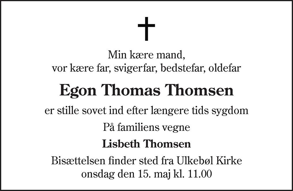 Egon Thomas  Thomsen Death notice
