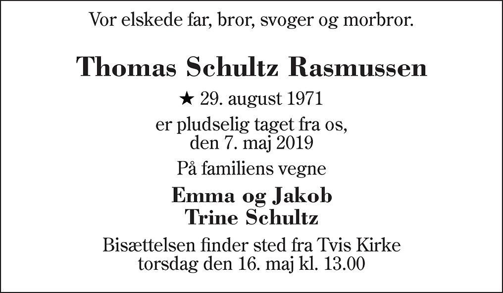 Thomas Schultz  Rasmussen Death notice