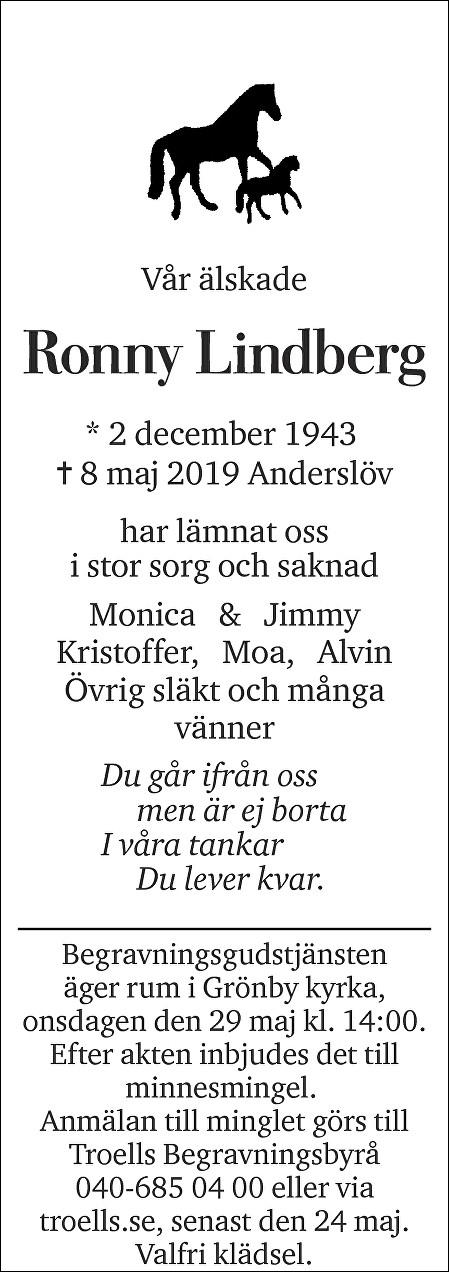Ronny Lindberg Death notice