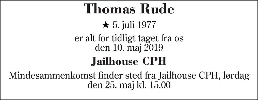 Thomas  Rude Death notice