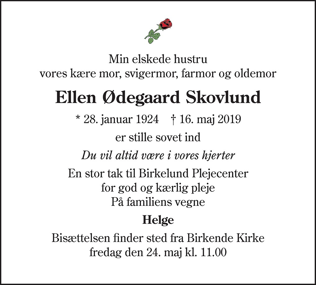 Ellen Ødegaard  Skovlund Death notice