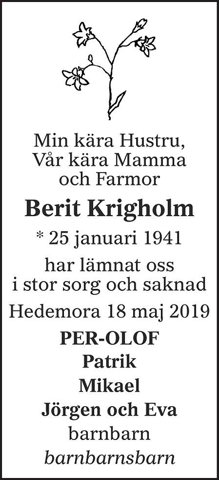 Berit Krigholm Death notice