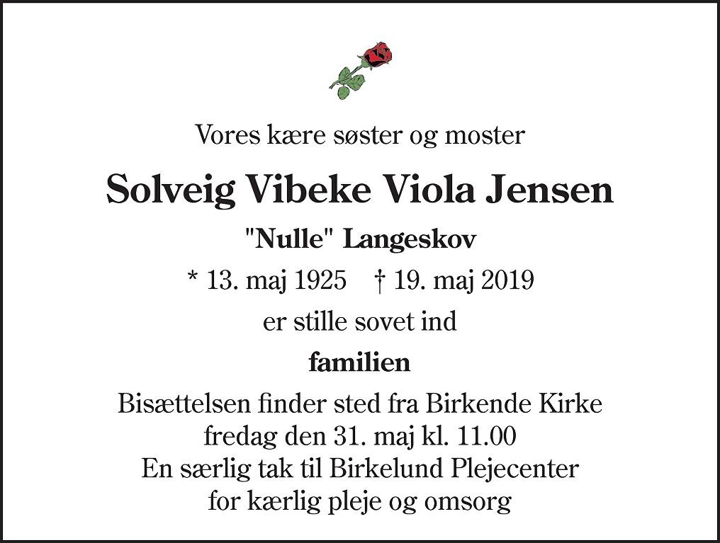 Solveig Vibeke Viola  Jensen Death notice