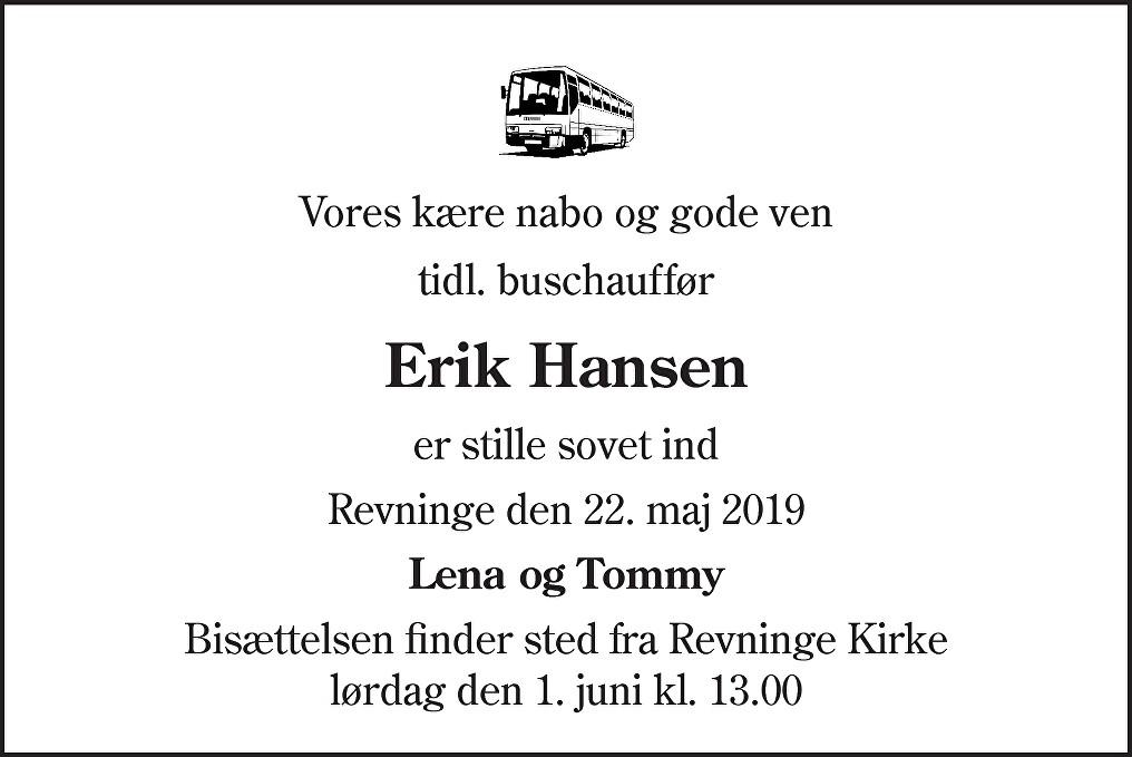 Erik Hansen Death notice