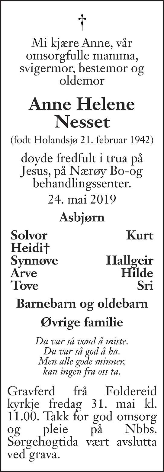 Anne Helene Nesset Dødsannonse