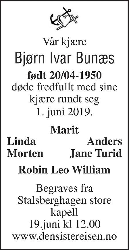 Bjørn Ivar Bunæs Dødsannonse