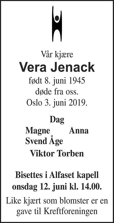 Vera Jenack Dødsannonse