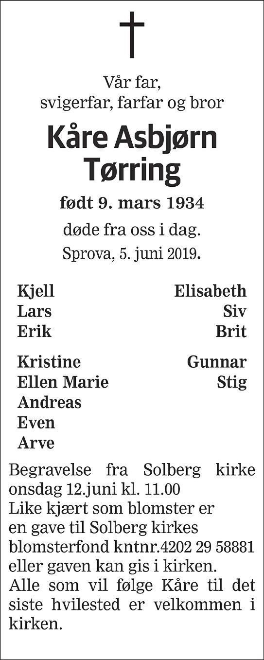 Kåre Asbjørn Tørring Dødsannonse