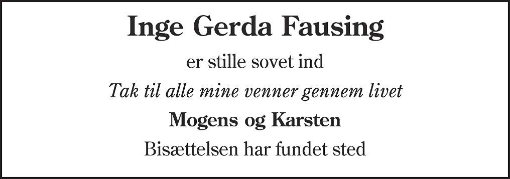 Inge Gerda  Fausing Death notice